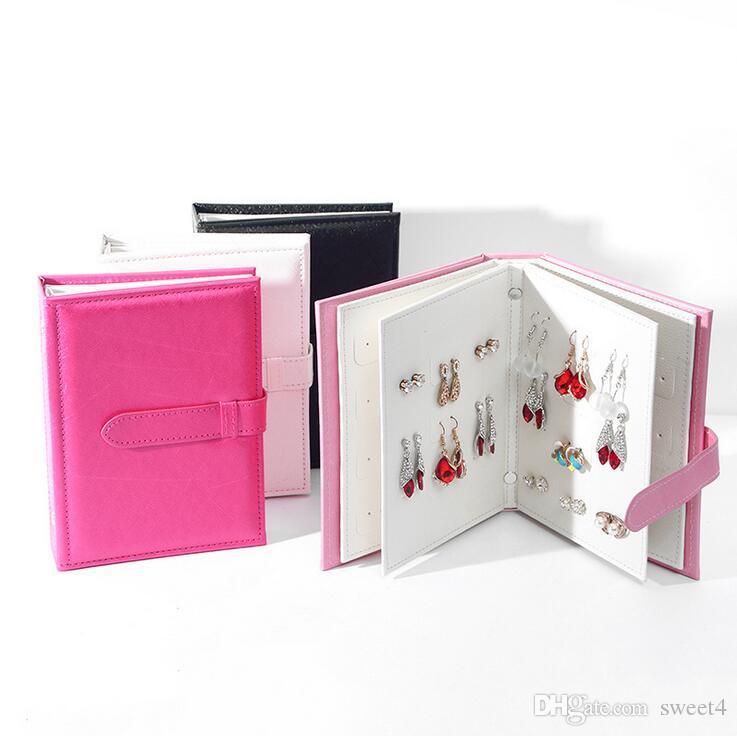 Nueva moda pu cuero joyas caja de almacenamiento de almacenamiento creativa pendientes libro PU pendientes de cuero sostenedor de la exhibición de la joyería Organizador mujeres del perno prisionero