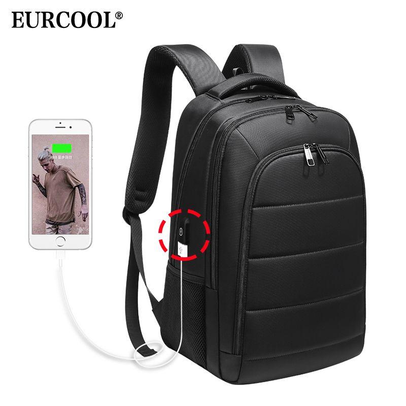 EURCOOL Homens Laptop Backpack carregamento USB 15,6 polegadas para n0001 Masculino Mochila Malas de Viagem Repelente de Água adolescente mochilas escolares
