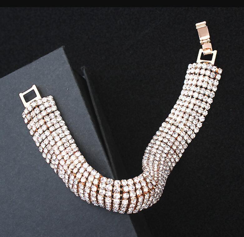 Mode Bracelet Brillant pour les Femmes Cristal Strass Stretch Bracelet Bracelet Bracelet Élastique De Mariage De Mariée Bijoux Livraison Gratuite