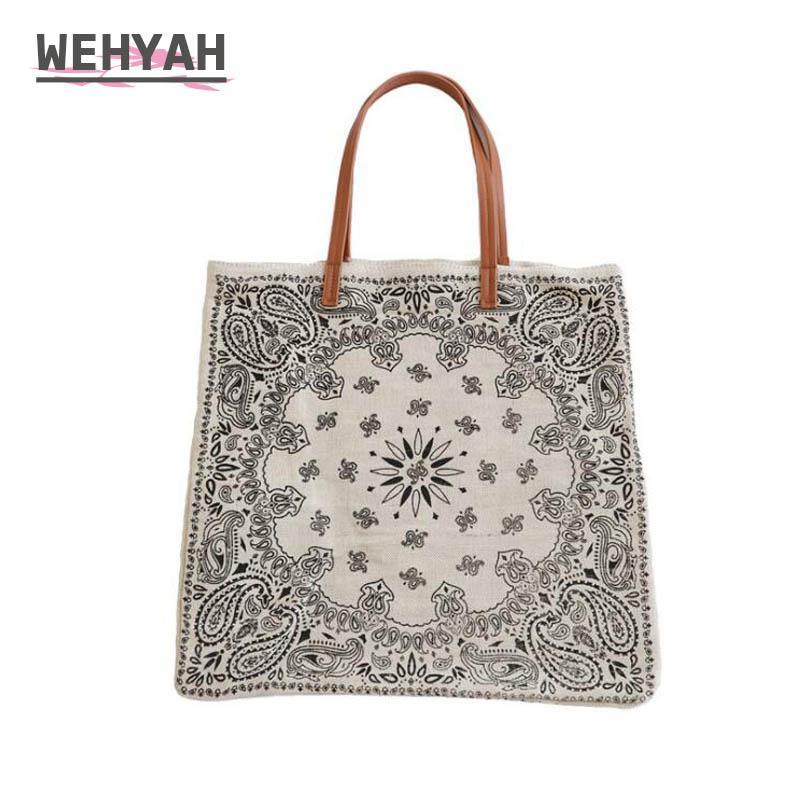 Wahyah Toile Sac de shopping pour les femmes Sac en cuir d'embrayage Tote Femmes sacs à main broderie tissu imprimé sac à main pochette ZY014