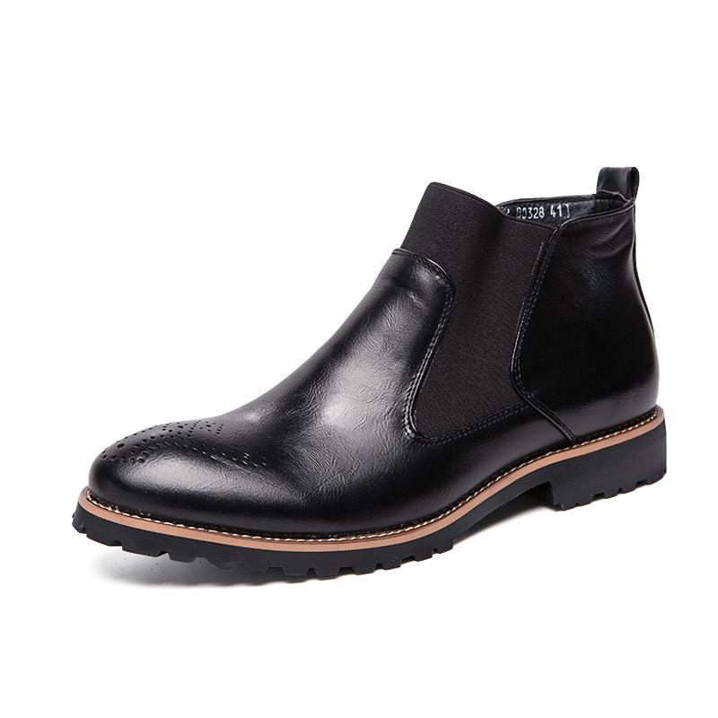 Erkekler Boots Sonbahar Deri Chelsea Çizme Brogue Stil Erkek Nefes Örgün Boots Man Yüksek Üst Günlük Ayakkabılar