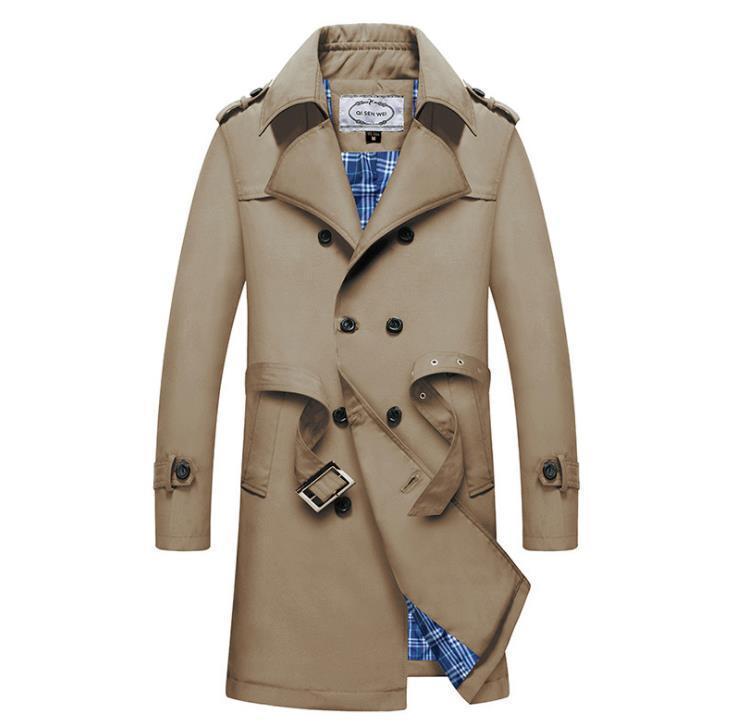 معاطف الشتاء الخريف الأعمال مزدوج اعتلى الزنانير مصمم معاطف ملابس خارجية خندق طويل