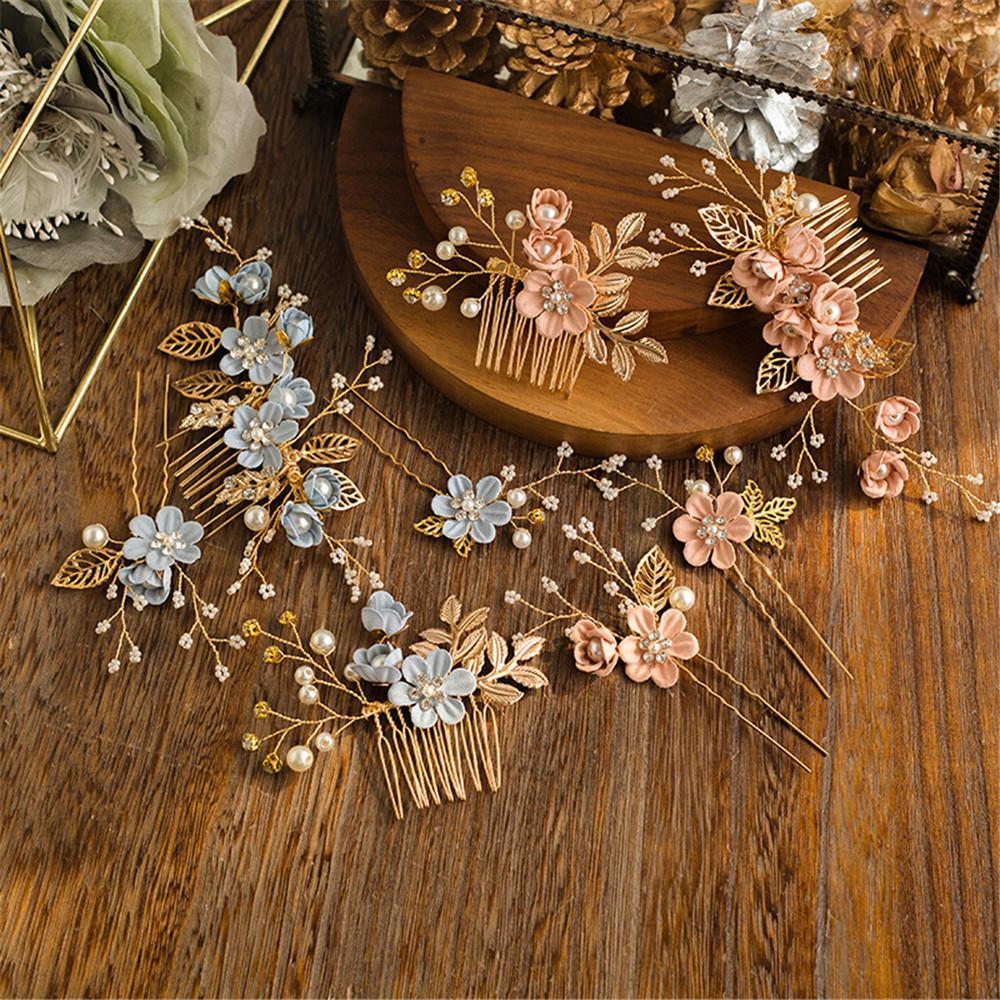 Elegant Luxury Purple Flower Bridal Hair Combs Headdress Prom Wedding Hair Accessories Gold Leaves Jewelry Pearl Pins