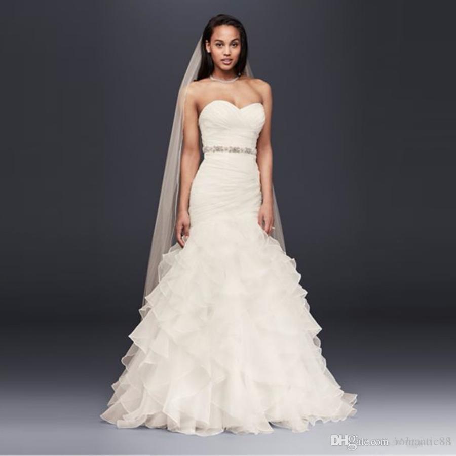새로운! ruffled 스커트와 Organza 인어 웨딩 드레스 2021 Strapless Sheading Sash 레이스 업 주름진 신부 드레스 가운