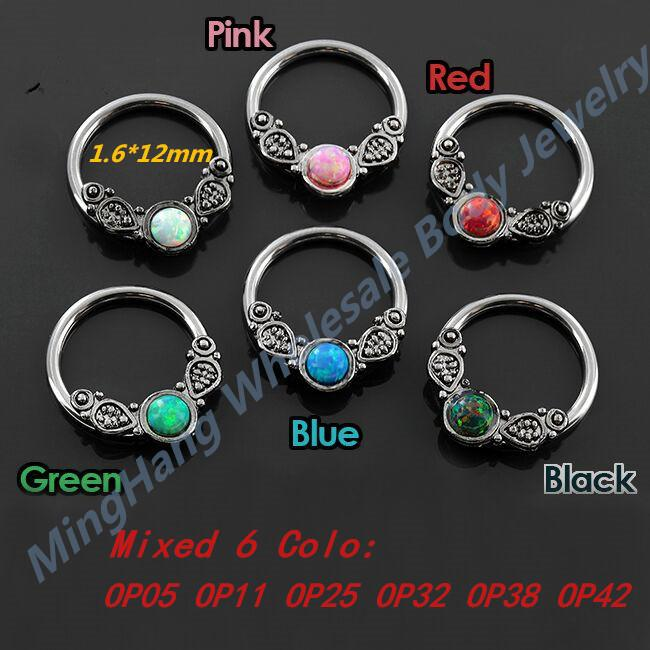 6pcs / lot Opal Septo Clicker Folha Estilo Opal Nose T200507 Anel Brinco Captive Bead Anel Body Piercing Jóias 14g