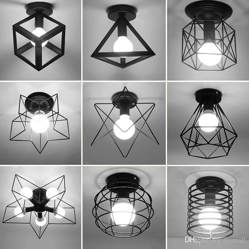 Vintage Ceiling Lights Lustre Luminaria Led Ceiling Lamp Loft Iron Cage Fixtures Home Lighting Plafonnier For Living Room Corridor