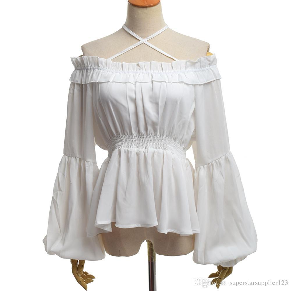 여자 빈티지 로리타 블라우스 높은 허리 긴 소매 보트 넥 Halterneck Fliff 쉬폰 셔츠 높은 품질