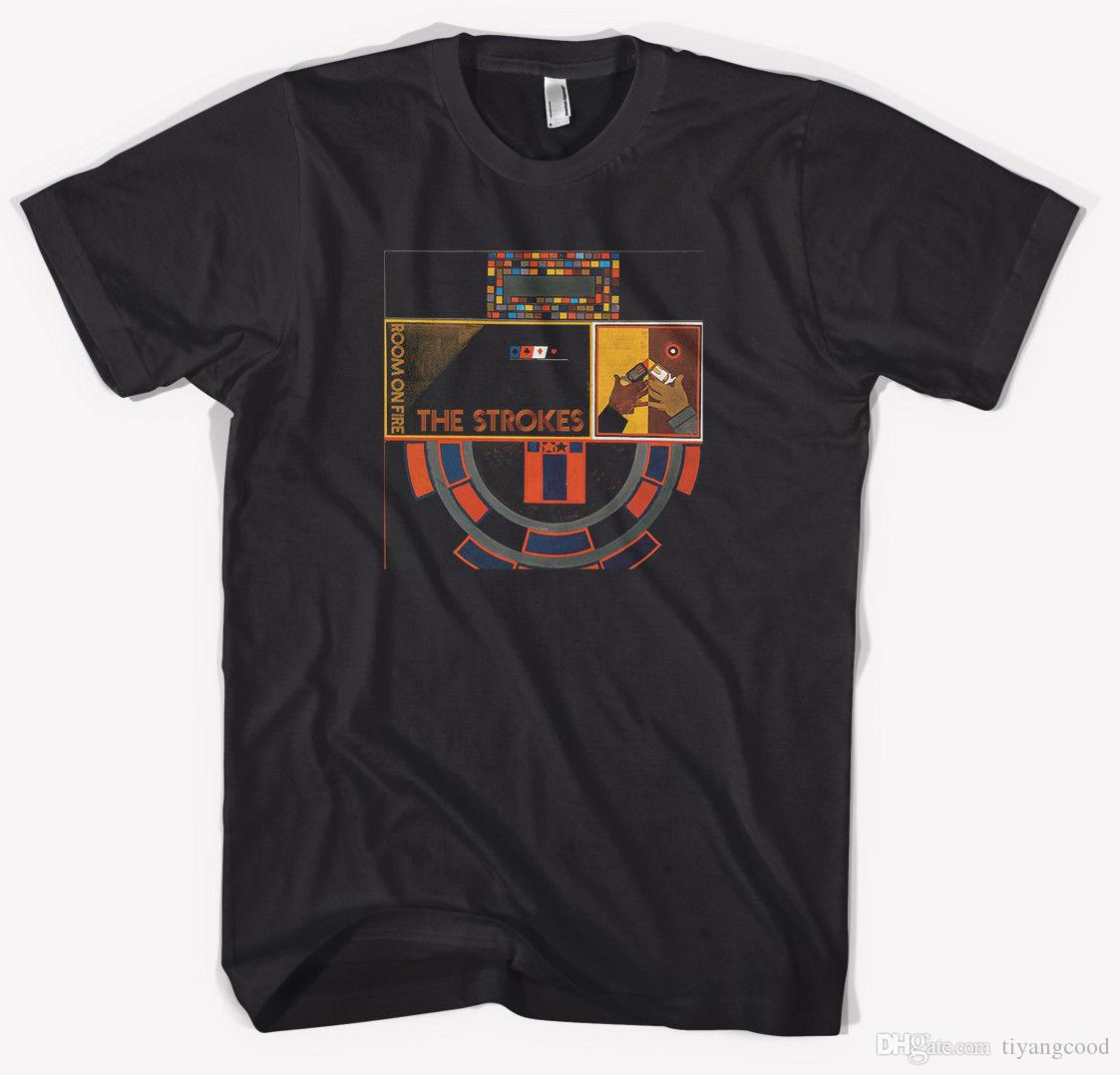 New The Strokes *Room on Fire Punk Rock Band Mens Black T-shirt S-3XL