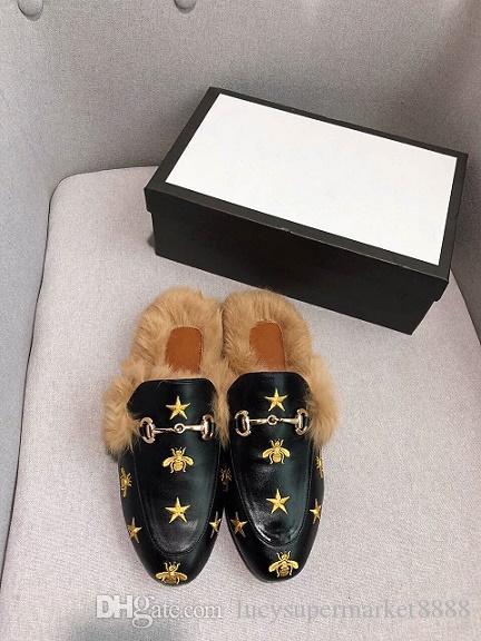 2019 WINTER Herren Designer Mokassins aus echtem Leder Pelz Luxus Pantoffel mit Schnalle Damen Princetown Casual Pelz Pantoffeln Pantoffeln Schuhe 34-41