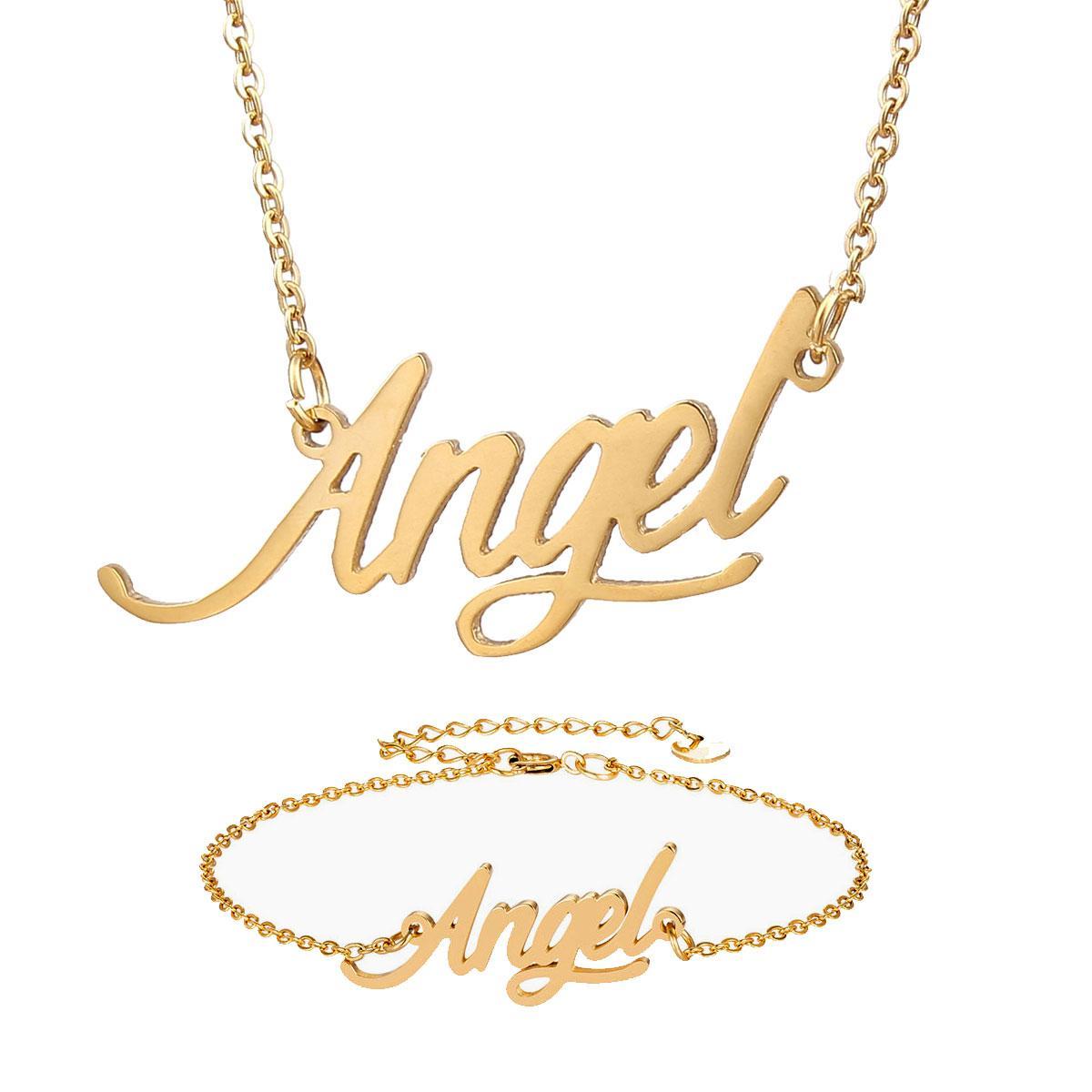 "Fashion Schmuck Frauen-Edelstahl-Namenskette + Armband Set ""Engel"" Script Letter Goldchoker Halskette Anhänger Geschenk Typschild"