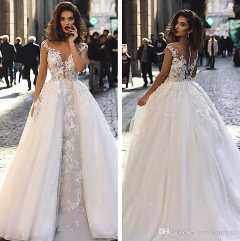 2019 웨딩 드레스 탈착식 기차 모자 슬리브 레이스 아첨 Bohemian Beach Bridal Gowns Country 오버 스티즈 Vestido de Novia