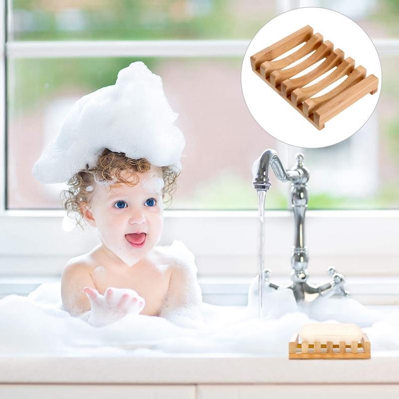 4 шт Деревянного Мыла Case Holder Натуральной Прямоугольная Вуд мыльница держатель для кухни ванной Sponge Поломоечные мыла