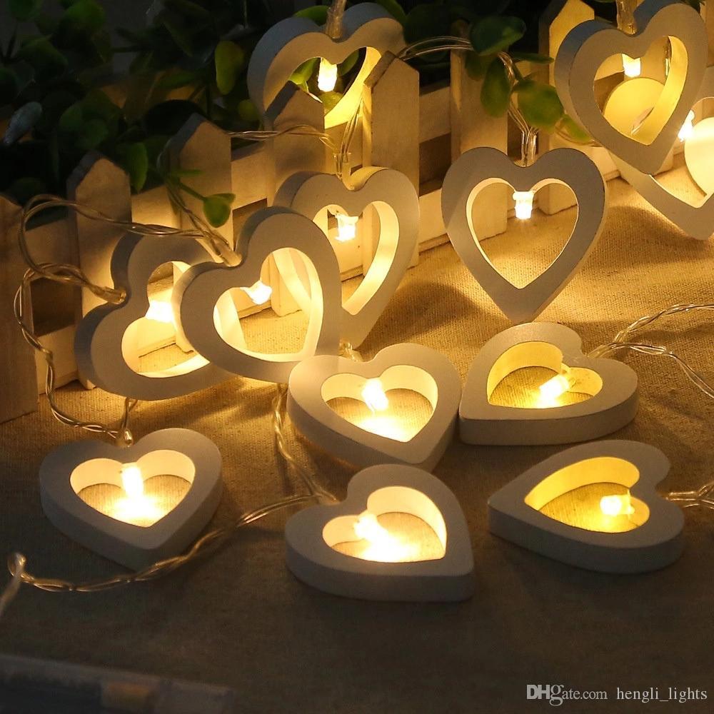 문자열 나무 램프 사랑 모양 램프 밤 빛 화환 램프 생일 파티 크리스마스 축제 테이블 장식 조명 JK0411