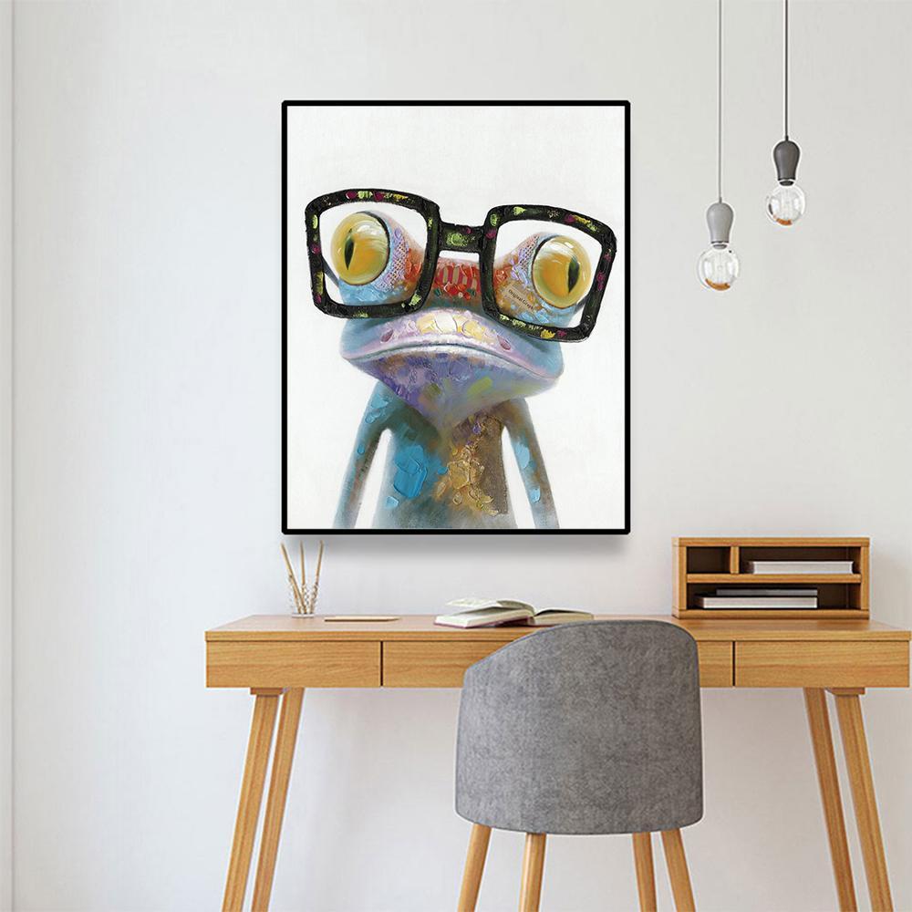 Laeacco Rana Gorilla moderna della tela di canapa pittura Calligrafia Poster e Stampe Wall Art Immagini per Living Room decorazione domestica
