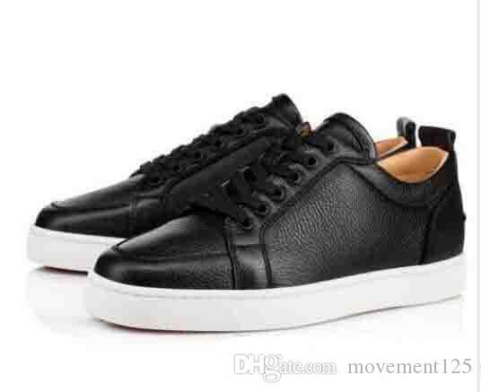 [المربع الأصلي] أفضل هدية العلامة التجارية الأحمر أسفل الرجال حذاء رياضة أحذية منخفضة rantulow صغار الرجال geunine جلد أبيض أسود في الهواء