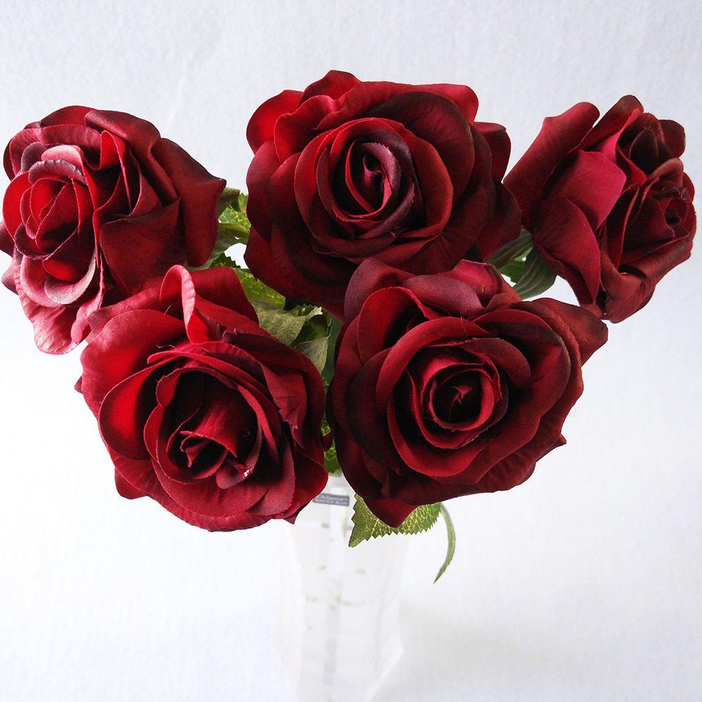 10 개 / 몫 다크 레드 꽃 라텍스 실제 터치 로즈 인공 실크 꽃 웨딩 파티 장식 꽃 공예