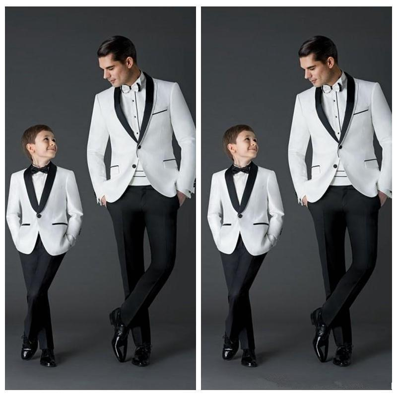 Custom Made New Fashion Groom Tuxedos Men's Wedding Dress Prom Suits Father And Boy Tuxedos (Jacket+Pants+Bow) Formal Wear Tuxedos