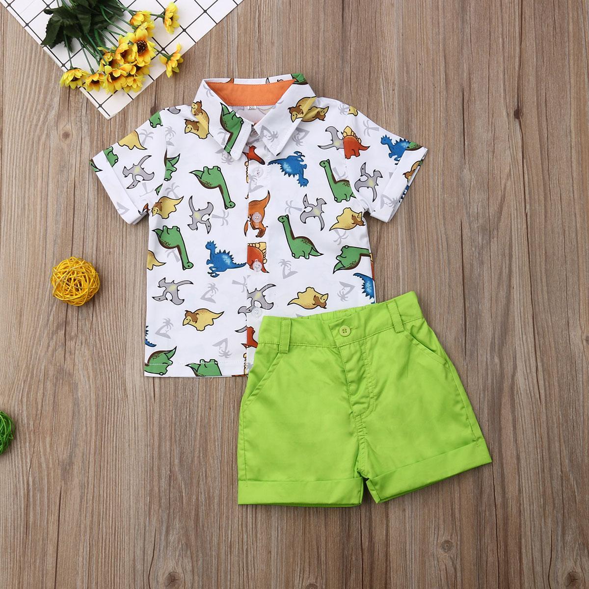 Verano del niño del bebé de la ropa de múltiples dinosaurio Imprimir tapas de la camisa de los pantalones cortos 2pcs equipos ocasionales ropa de verano
