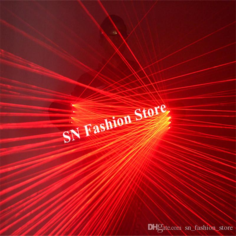 SJ75 Red laser beams rechargeable gloves dj stage show wears performance dance costumes led 4pcs heads robot man projector bar party event