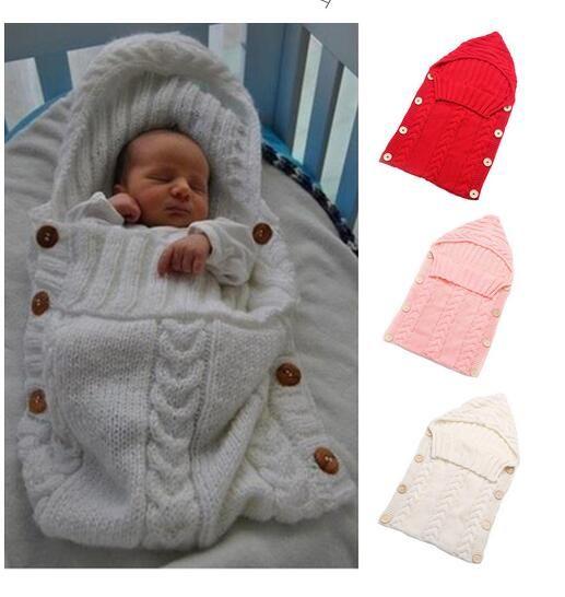 아기 담요 신생아 유아 담요 수제 유아 아기 침낭 니트 의상 크로 셰 뜨개질 아기 니트 침낭 수면 자루 버튼