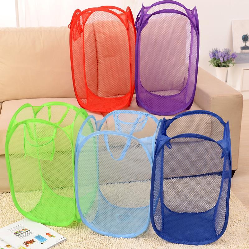 Foldable Mesh Laundry Basket Pop Up Mesh Hamper Washing Clothes Bag Storage Bin Dirty Clothes Basket KKA2306