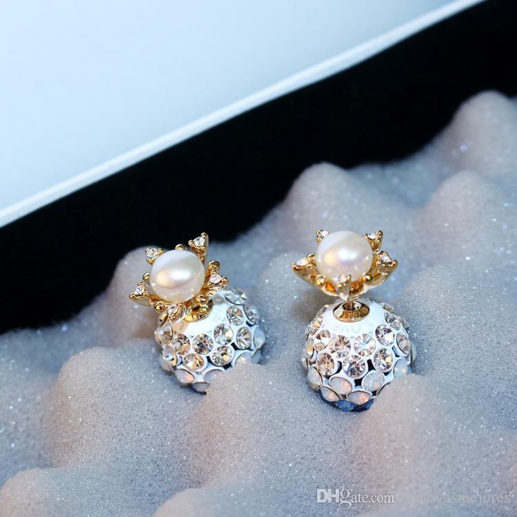 heißen Verkauf Art und Weise Luxus-Designer-schöne voller Diamant Strass Shambara Ball Perlenohrstecker für Frau Silberstift