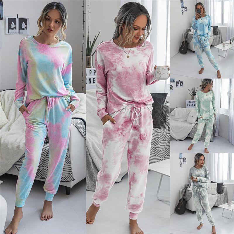 2020 Осень Зима Женские с длинным рукавом короткие пижамы набор галстук краситель печатных мягкий топ и брюки PJ набор пижамы пижамы Loungewear