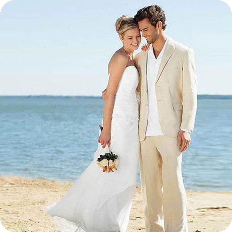 Summer Ivory Linen Men Suits for Wedding Groom Tuxedos Man Suit Two Buttons Groomsmen Blazers Jacket 2 Pieces (Coat+Pants)Costume Homme