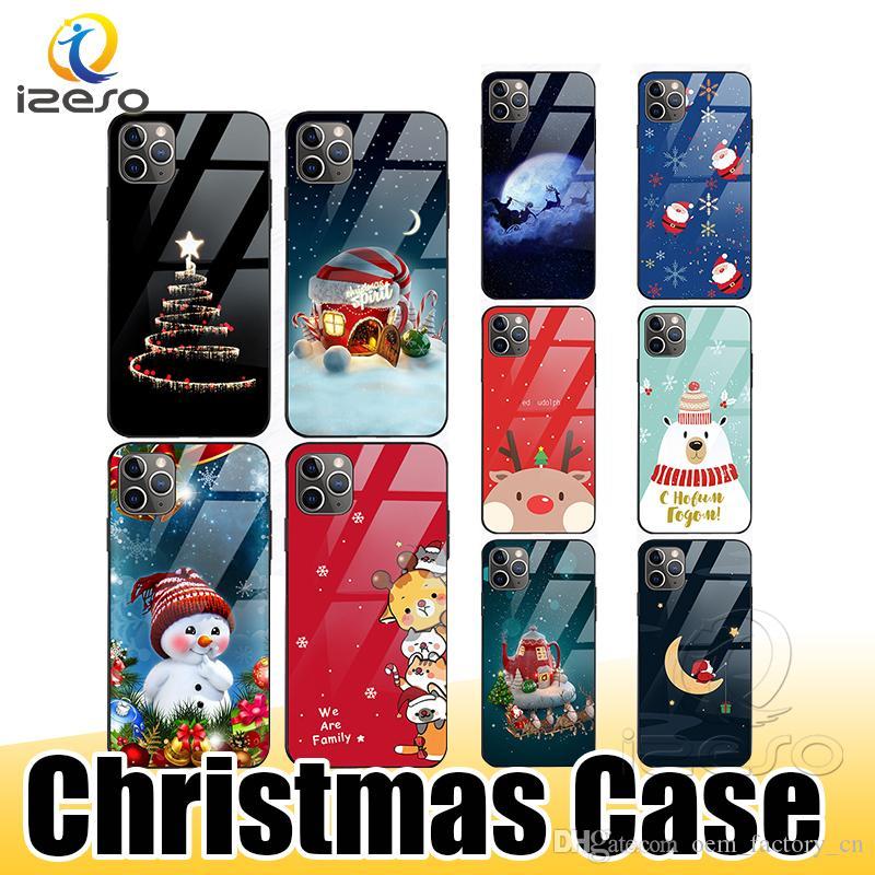 아이폰 (12) (11) 프로 맥스 XR 삼성 주 (20) 울트라 S20 크리스마스 패턴 귀여운 장식 핸드폰 케이스 강화 유리 뒤 표지의 izeso의 경우