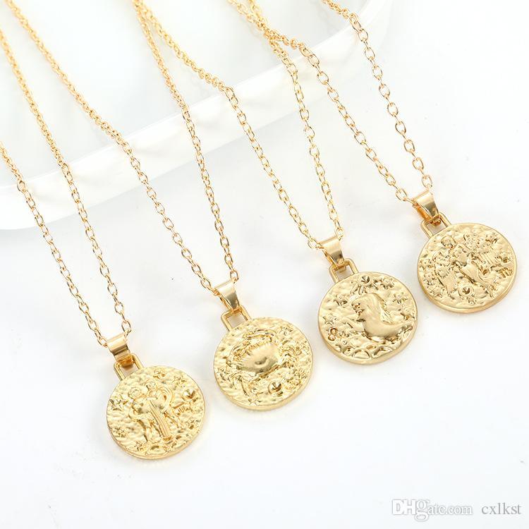 12 collana di gioielli costellazione oro vergine bilancia scorpione sagittario capricorno acquario zodiaco collana cerchio pendente spedizione gratuita