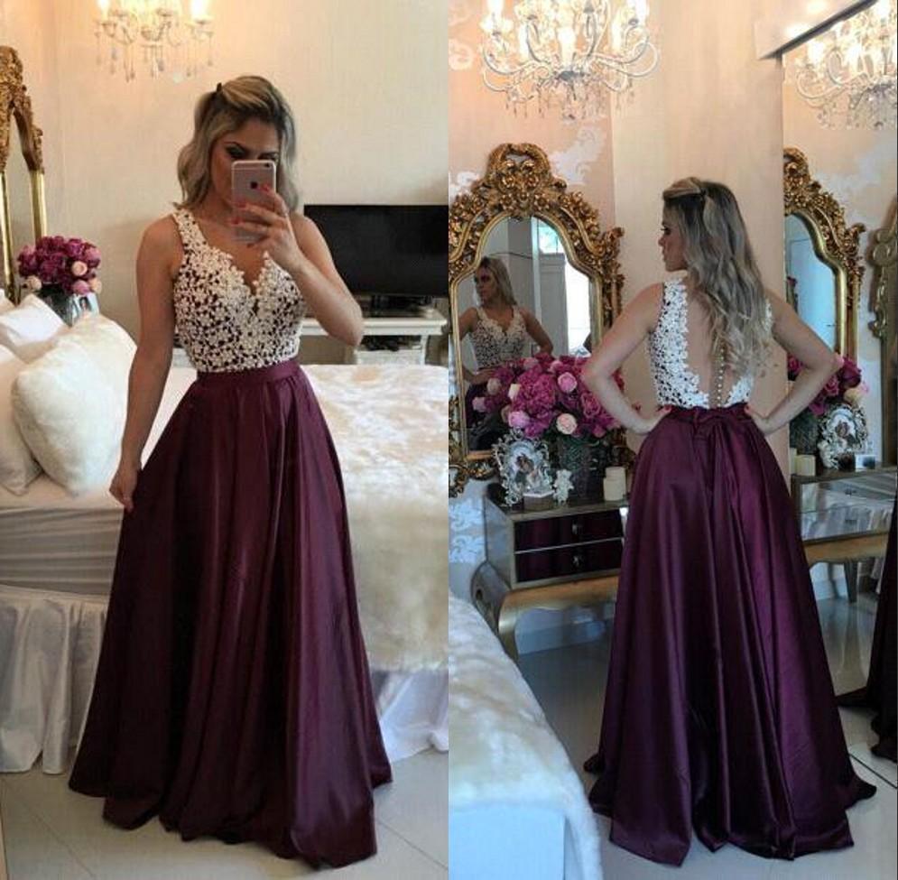 Abiti Prom Vintage Lace Appliques A Line V Neck illusione Indietro vestito da sera del 2019 spettacolo partito convenzionale abiti