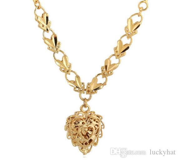 Venta caliente nueva llegada 18 K chapado en oro Hollow corazón forma colgante collar espiral cadena volante hebilla terminado collar sobre 49 cm