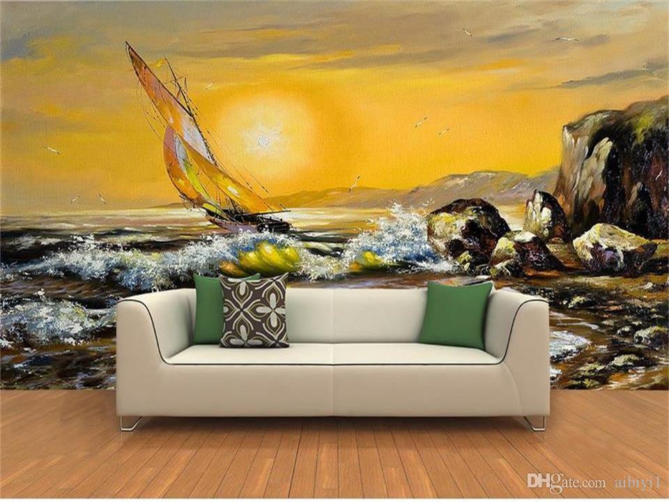 custom size 3d photo wallpaper living room mural European style Sunset sail reef Oil Painting sofa TV backdrop wallpaper non-woven sticker