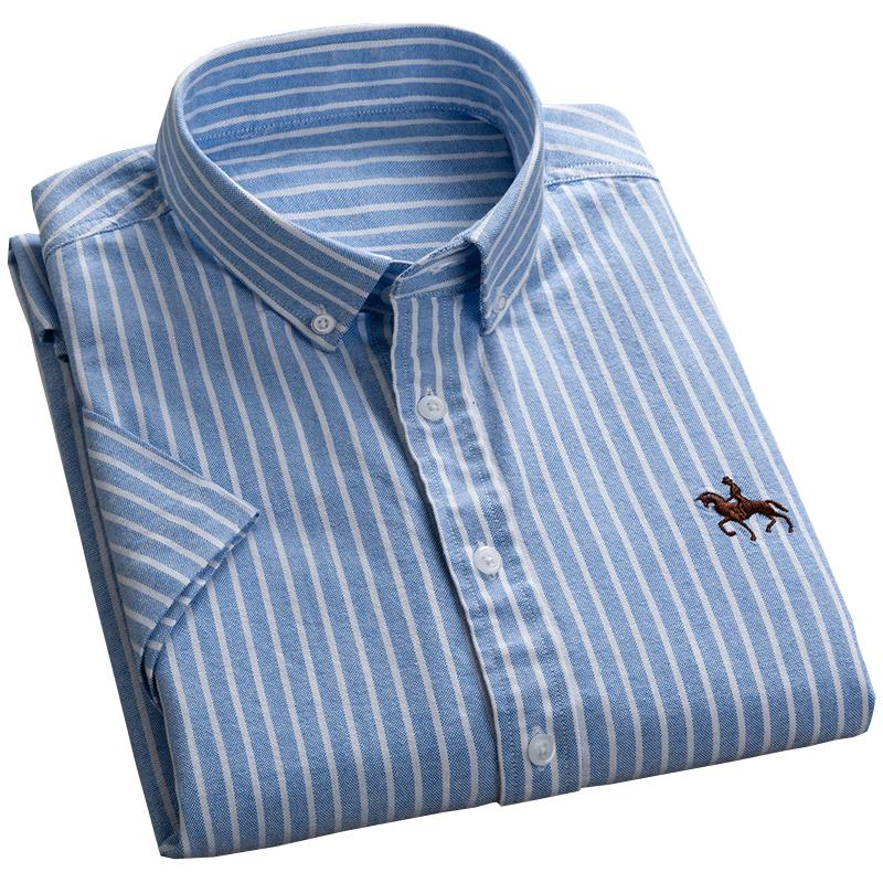 Summer New Design Short Sleeve Striped Oxford 100% Pure Cotton Button-down Collar Business Casual Men Shirts Embroidery Pattern