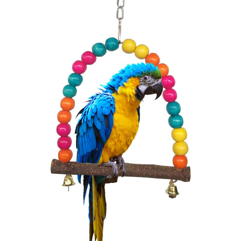 Jouets pour les oiseaux colorés Parrot Pivoter la béquille de cage à oiseaux Jouets pour Perroquets 2 Taille Climb échelle Oiseaux Perroquets Jouets 6A0828