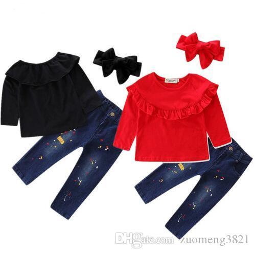2017 Brand New Toddler Infant Kids Baby Girl T-shirt Solid Tops Jeans Denim Pantaloni 3pcs Set Abbigliamento Moda Abito Autunno Autunno 2-6T
