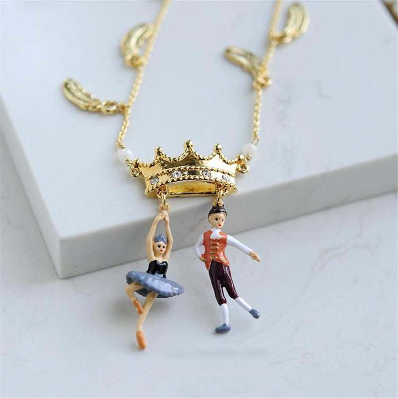 B04-028 Les * N2 ожерелья Балетного Prince Black Crown ожерелье романтических chockers цепь кулон ожерелье