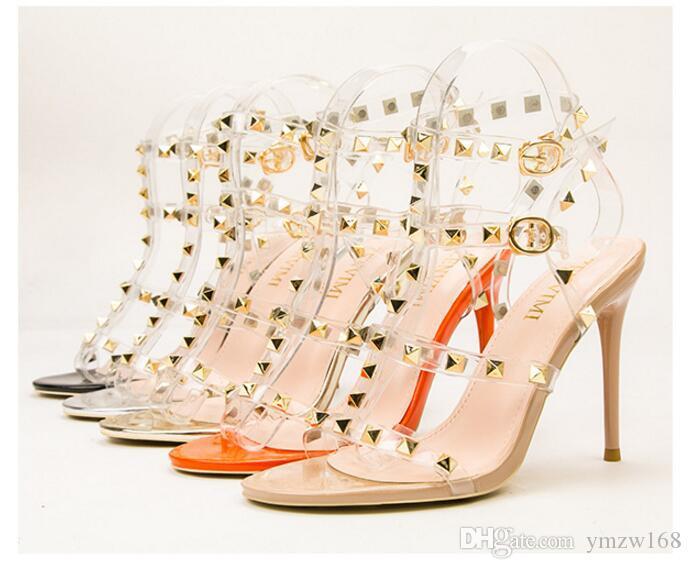 nuevo cuero de la marca de estilo de diseño Mujeres Stud sandalias talón abierto atractivo de las señoras Bombas Tacones altos 10cm manera clava los zapatos Tamaño de 5 colores 34-39