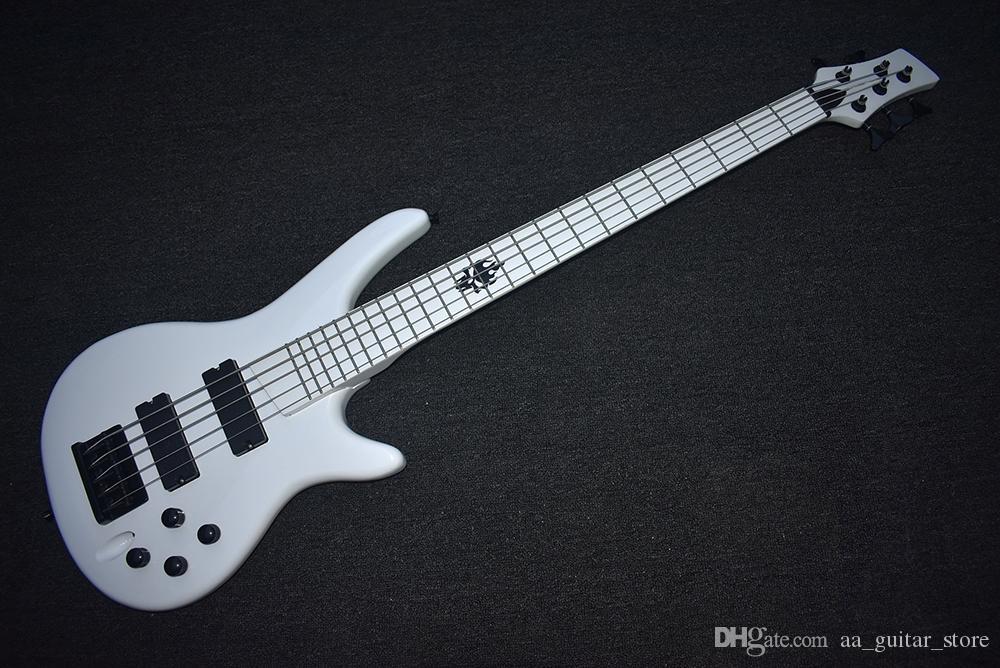 Fabrika Özel Beyaz Elektrik Bas Gitar 5 Strings ile, Siyah Donanım, Beyaz Klavye, Yüksek Kalite, Özelleştirilebilir
