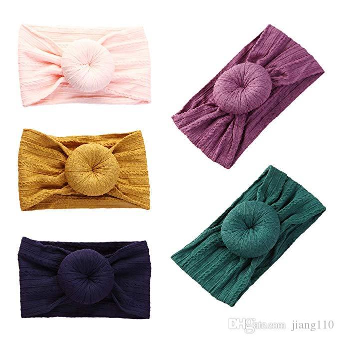 Ins del niño recién nacido Top vendas Nudo 27 Solid niño de los colores de nylon anudada de la venda del turbante del bebé accesorios para el cabello pelo bandas Turbante