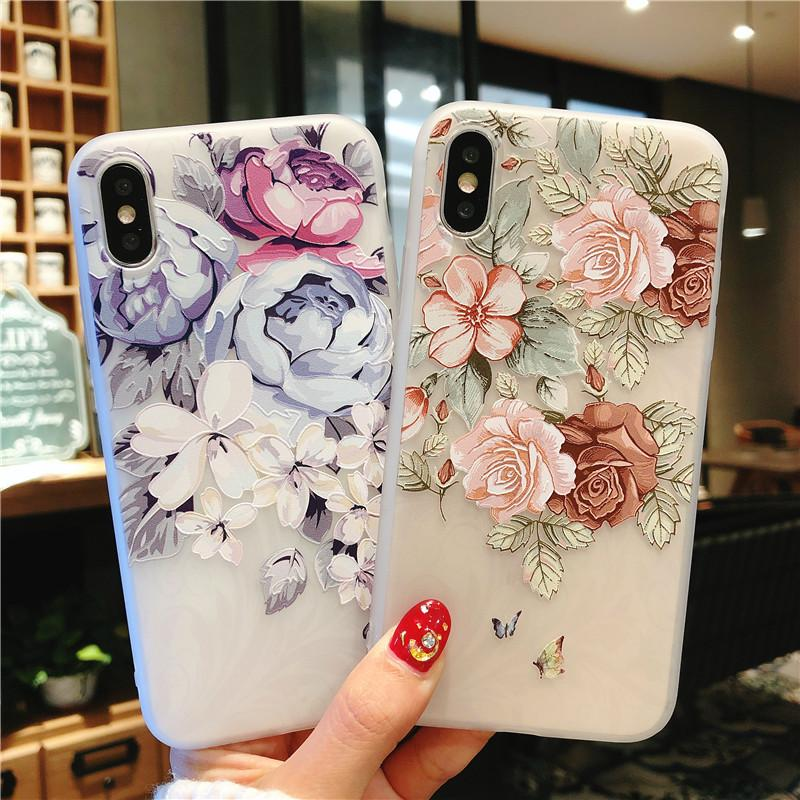 cas de téléphone de secours de fleurs fleur floral en silicone pour iPhone 11 Pro Max X XS XR 6S 7 8 plus cas couverture arrière couvre