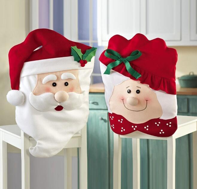 Tabela Jantar de Natal Cadeira Coberta Chair Back Cover Xmas Papai Noel Cadeira Coberta Decoração Para Casa
