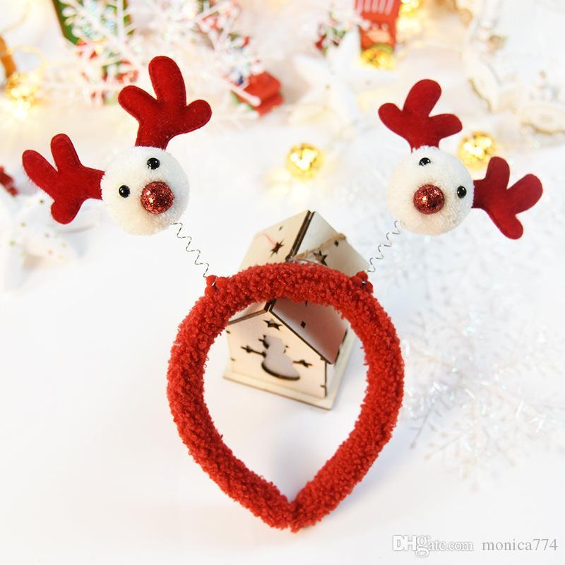 한국어 패션 여자 크리스마스 트리 헤어 스틱 아이 엘크 헤드 버클 헤드 밴드 만화 어린이 크리스마스 모자 눈사람 많은 디자인 M2