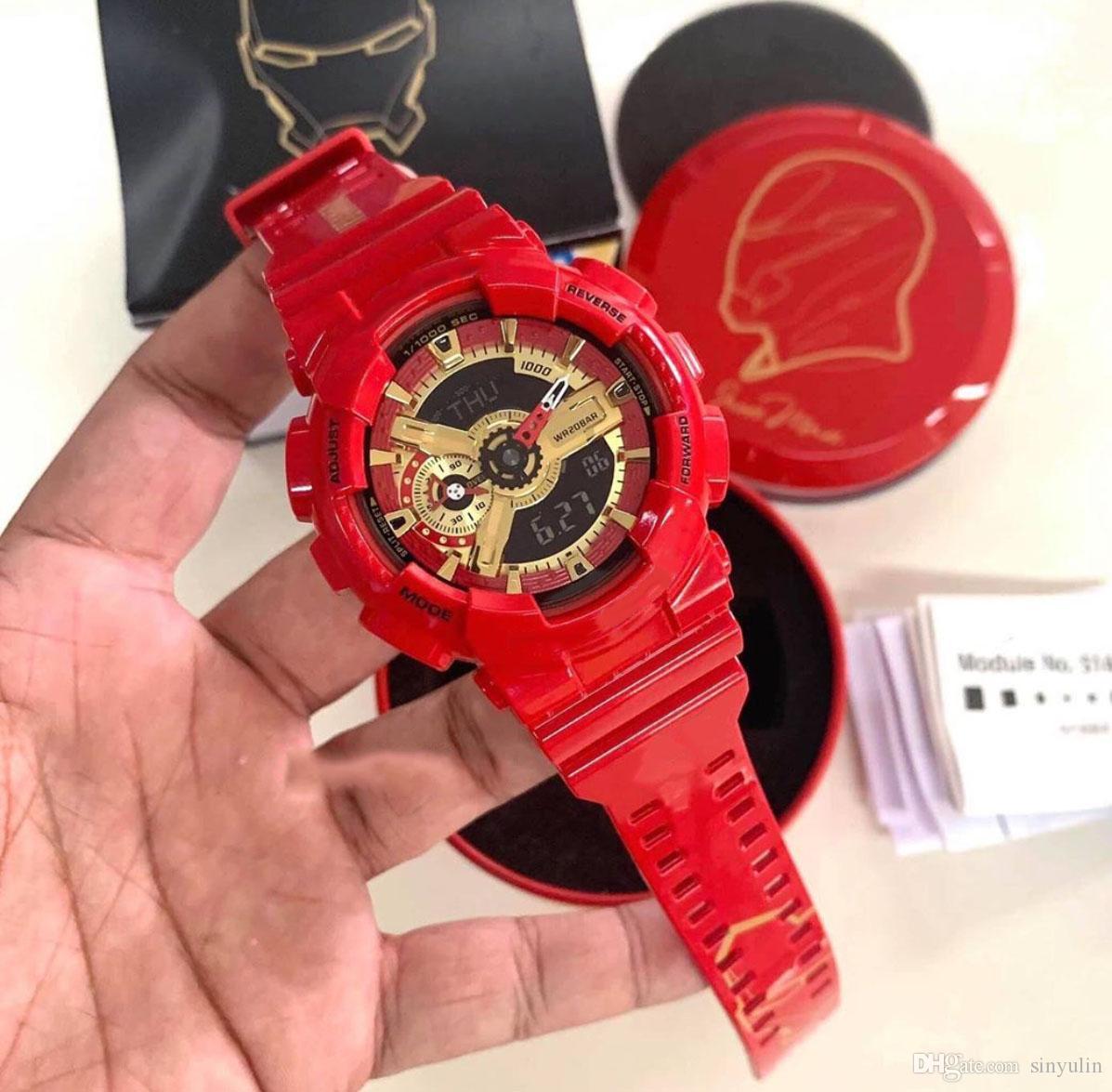 Esporte Relógios G Estilo Choque relógios com caixa especial da Marvel Super Hero Series relógios de pulso Limited Edition Homem de Ferro Capitão América Homens