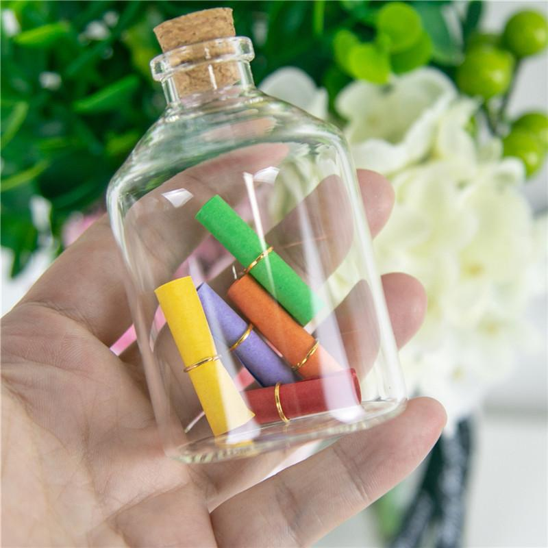 24PC Mini Transparent Glass Cork Bottles Crafts Vials Clear Glass Empty Wishing Bottles 4ml 10ml 100ml Jars Containers Diy Vials T200506