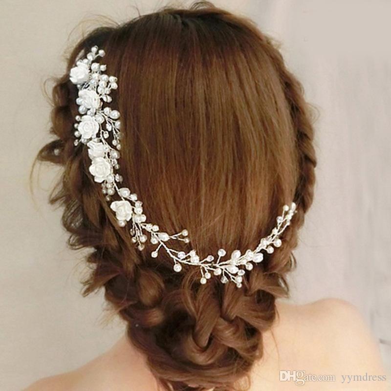 Joyería blanca nupcial de pelo de la flor floral pernos Peine nupcial de la mitad del pelo hasta pelo de la boda accesorios de la vendimia de la guirnalda