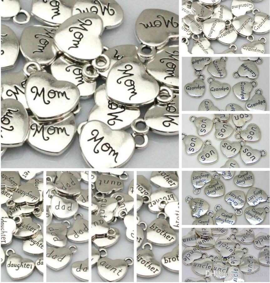 100 pçs / lote antigo pingentes de coração de prata encantos pai mãe filha tia irmã para pulseiras colar brincos bead jóias descobertas diy 16mm