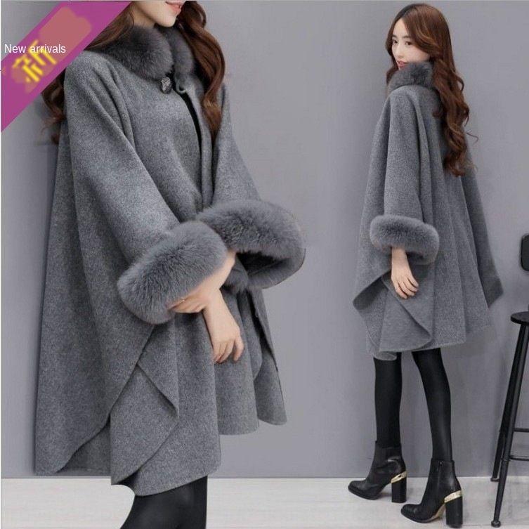 Wb9TG mid-length Korean shawl fox fur collar New woolen elegant woolen woolShawl wool Cape style Coat coat for women