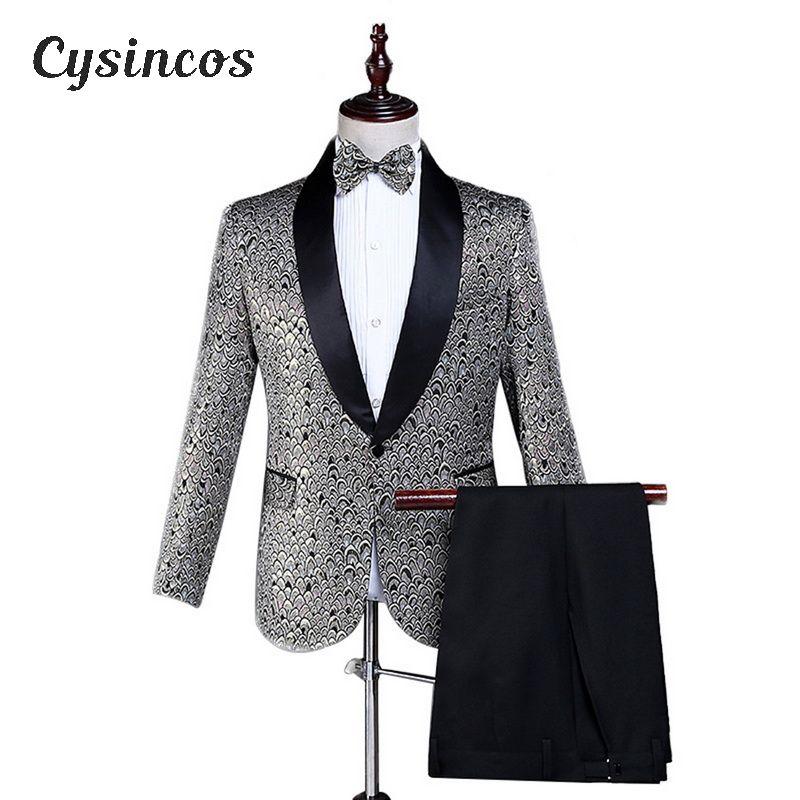 CYSINCOS 남성 세 조각 세트 빛나는 숄 라펠 댄스 파티 웨딩 신랑 턱시도 의상 옴므 최신 코트 바지 디자인 정장