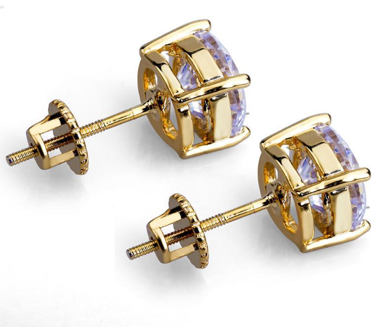 Rotonda Moda Uomo di Hip Hop orecchini monili di alta qualità Oro Argento diamante simulato gli orecchini per gli uomini n03202.